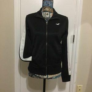 EUC Hollister  Zip Up Sport Jacket Black/White